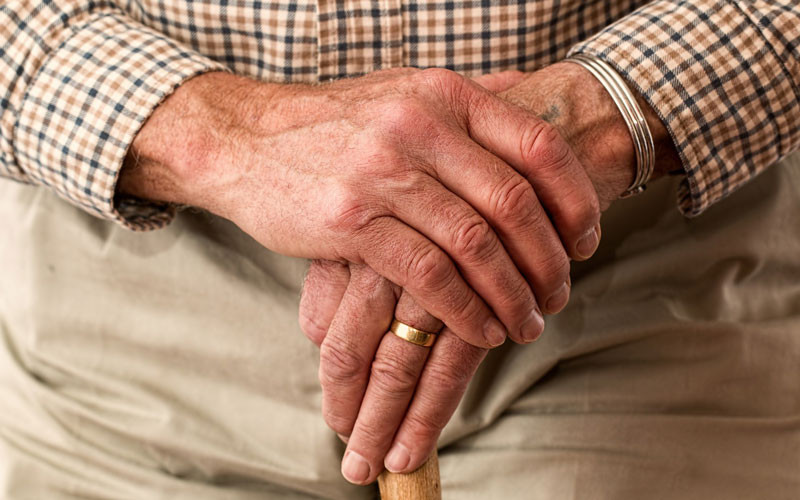 Elderly man's hands.